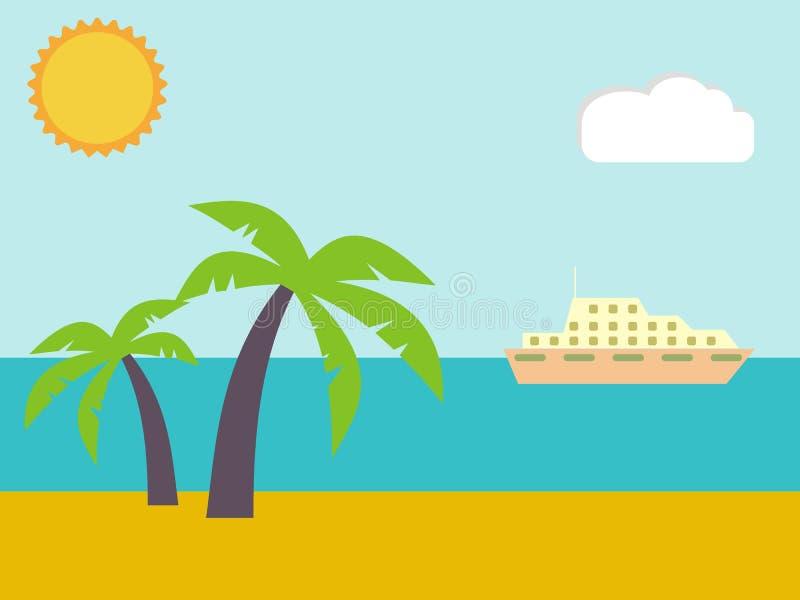 Sabbia sulla spiaggia di estate vicino al mare tropicale illustrazione vettoriale