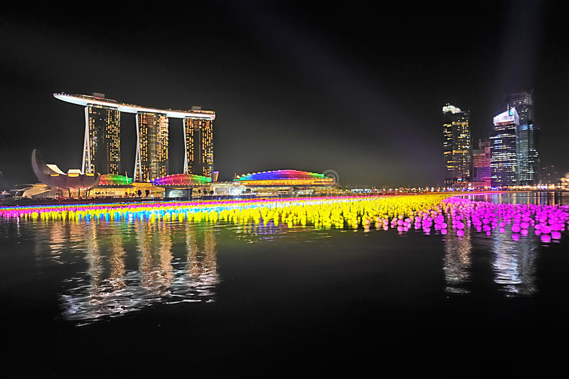 Sabbie della baia del porticciolo di Singapore fotografia stock
