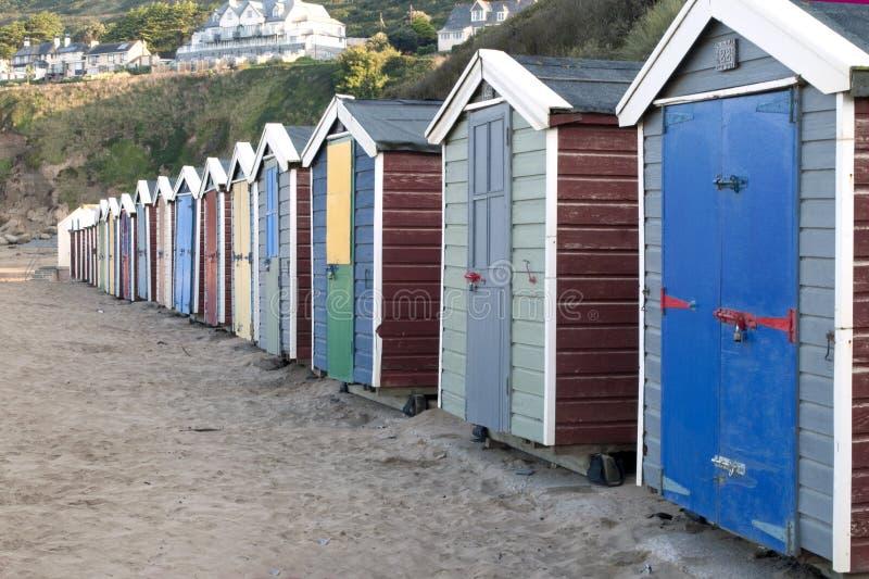 Sabbie di Saunton di primo mattino delle capanne della spiaggia immagine stock