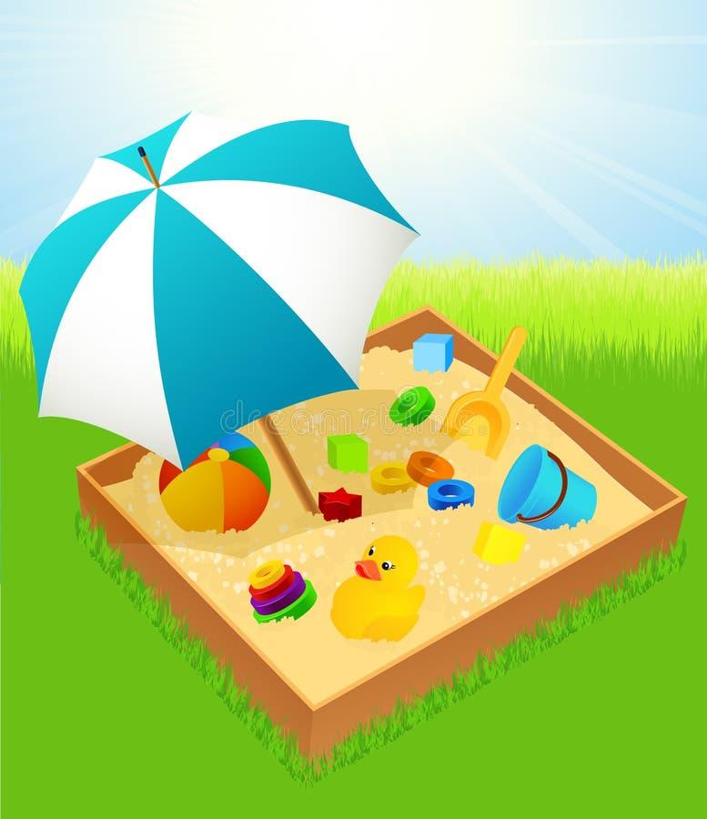Sabbiera con l'ombrello illustrazione di stock