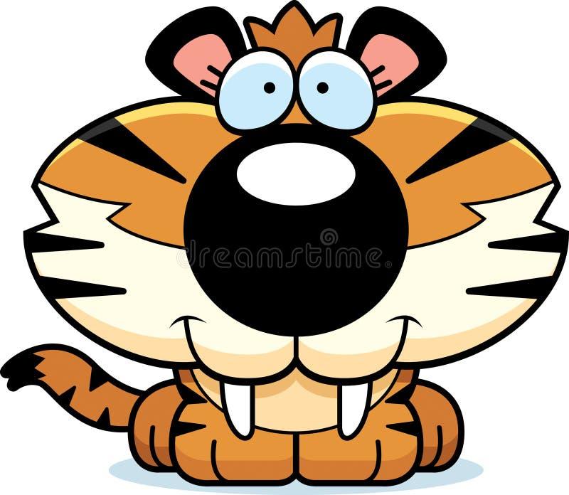 Sabel-getand Tiger Smiling royalty-vrije illustratie
