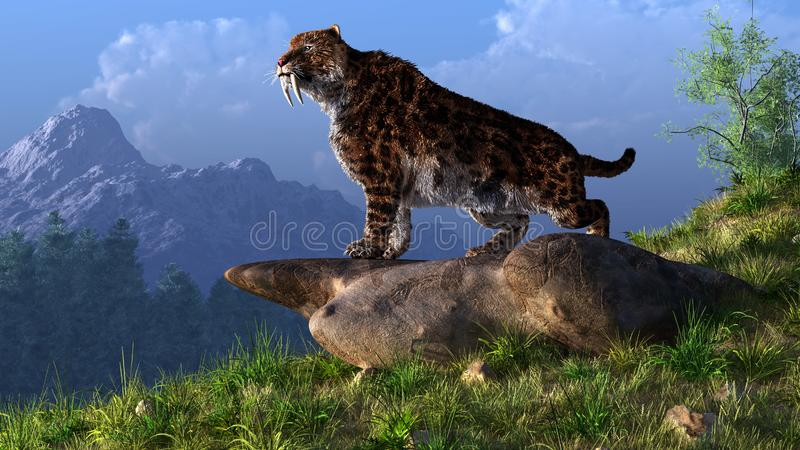 Sabel-getande Kat vector illustratie