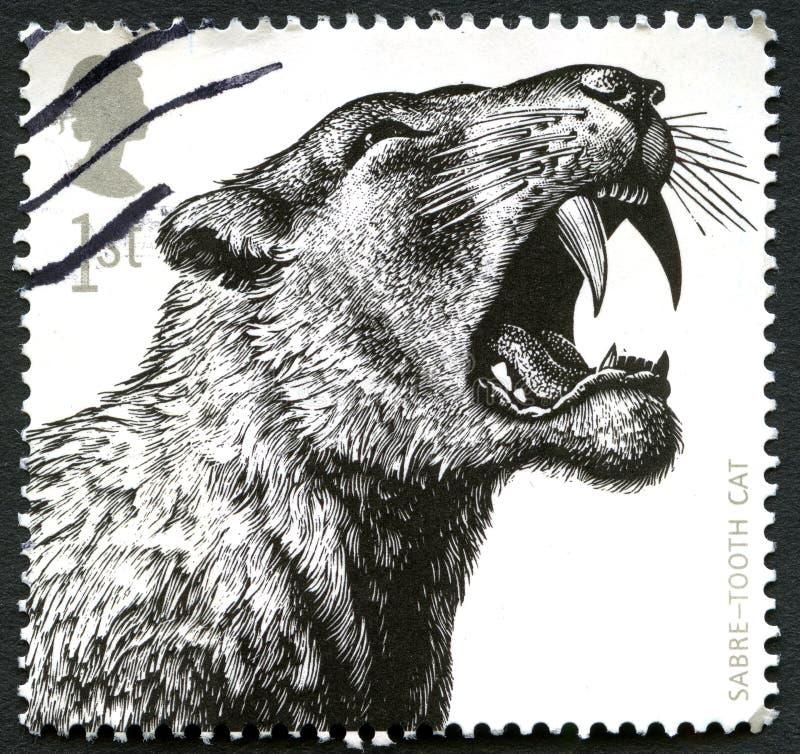 Sabel-tand Katten Britse Postzegel vector illustratie