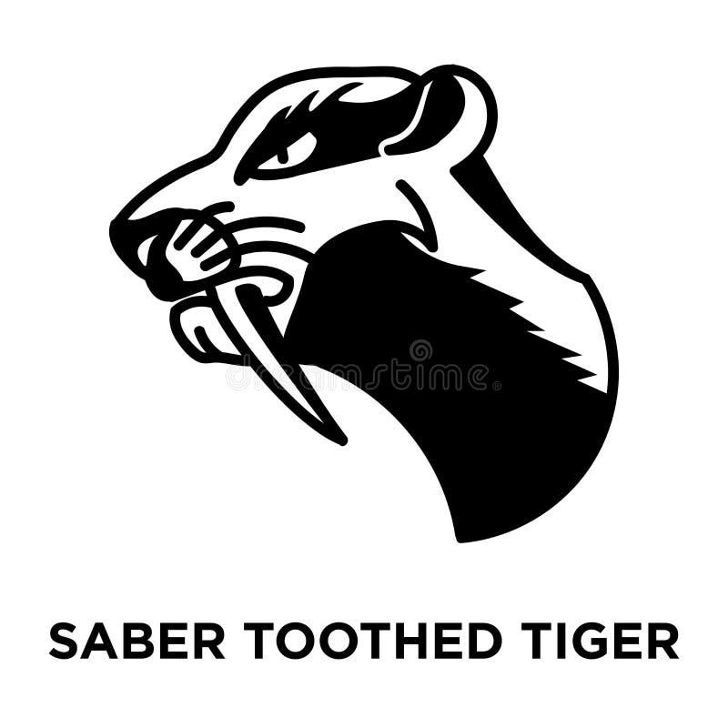 Saber ikony uzębiony tygrysi wektor odizolowywający na białym tle, lo ilustracja wektor