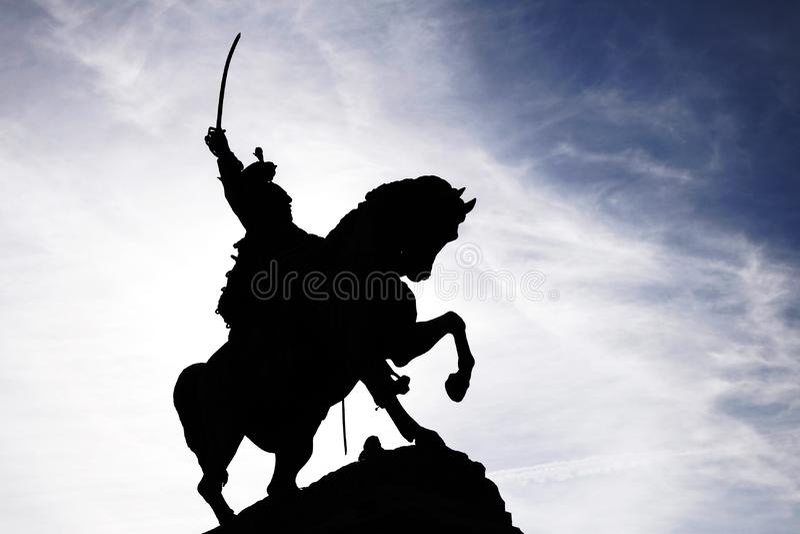 Saber Rider Statue Silhouette stock image
