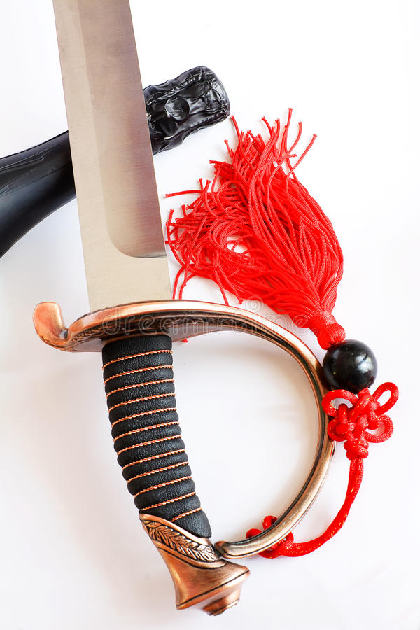 Saber for sommelier. For open a bottle of champagne royalty free stock photo
