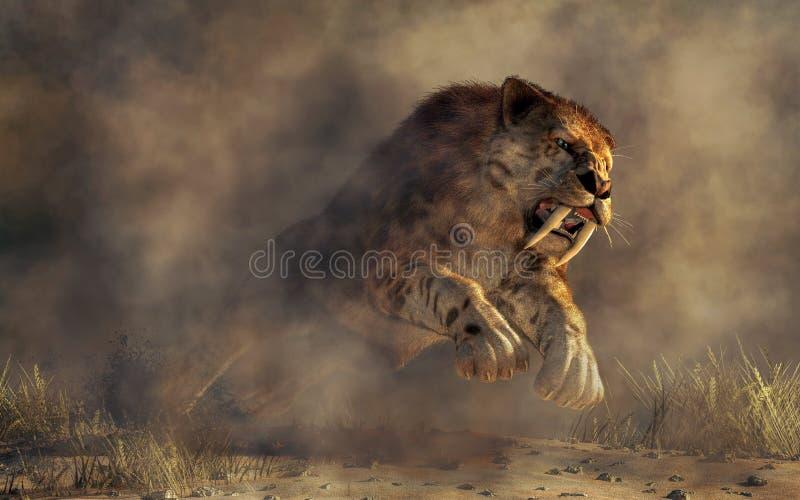 Saber Tooth atacando ilustração do vetor