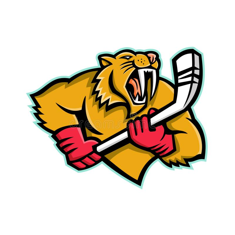 Saber Toothed Cat Ice Hockey-Mascotte stock illustratie