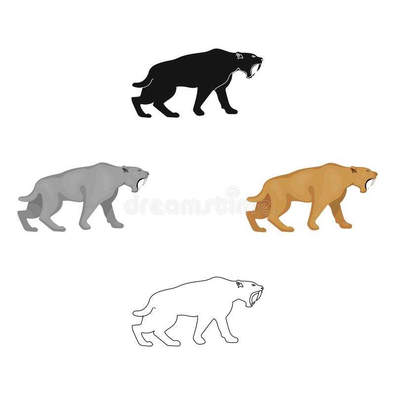 Saber-toothed tiger icon in cartoon,black style isolated on white background. Stone age symbol stock vector illustration. Saber-toothed tiger icon in cartoon stock illustration