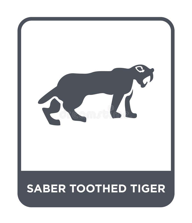 saber uzębiona tygrysia ikona w modnym projekta stylu saber uzębiona tygrysia ikona odizolowywająca na białym tle saber uzębiony  ilustracja wektor