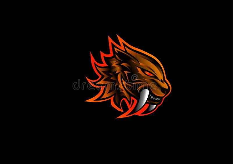 Sabertooth Mascot Logo Icon Illustration, Black Background, Animal Print, Red panther, Wallpaper vektor illustrationer
