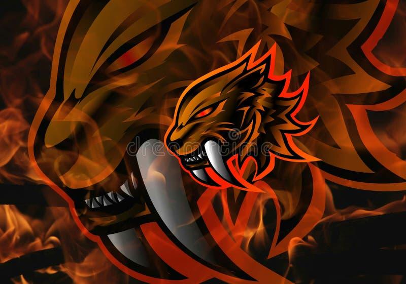 Sabertooth Mascot Logo Icon Illustration, Fire Background, Animal Print, Red Flame, Wallpaper stock illustrationer
