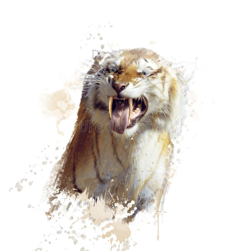 Sabertooth tiger portrait watercolor. Painting royalty free stock photography