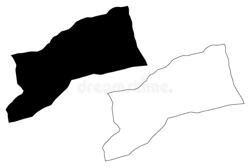 Sabha District Districts of Libya, State of Libya, Fezzan map vector illustration, scribble sketch Sabha map.  stock illustration