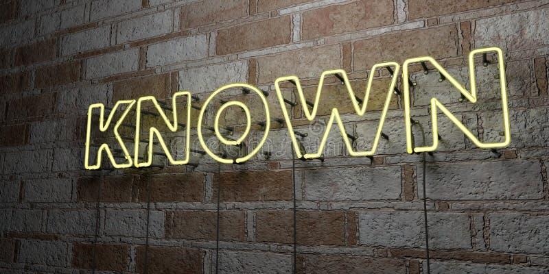 SABIDO - Señal de neón que brilla intensamente en la pared de la cantería - 3D rindió el ejemplo común libre de los derechos stock de ilustración