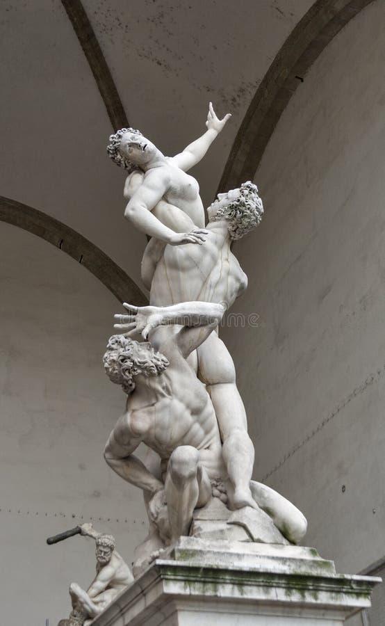 Sabines雕塑的强奸Giambologna在佛罗伦萨 免版税库存照片