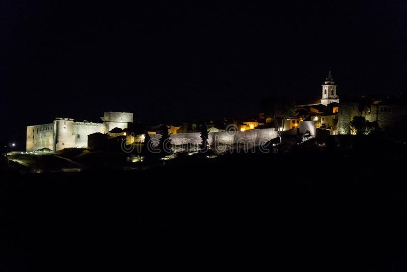 Sabiote village panoramic view at night, Jaen, Spain royalty free stock photos