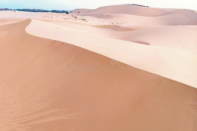 Sable avec une teinte rose rougeâtre longue dune de sable photographie stock libre de droits