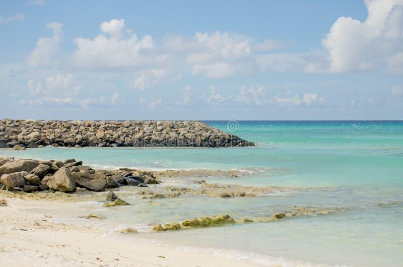 Sable blanc et pierres d'océan bleu d'île Maldive de paysage à terre photos libres de droits