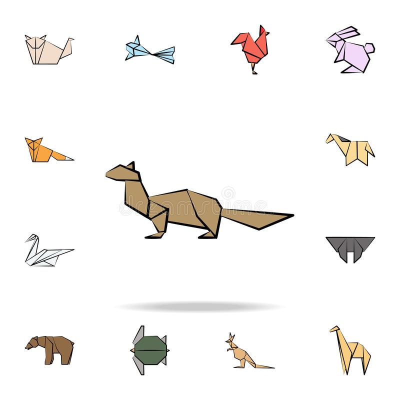 Sable colored origami icon. Detailed set of origami animal in hand drawn style icons. Premium graphic design. One of the. Collection icons for websites, web royalty free illustration