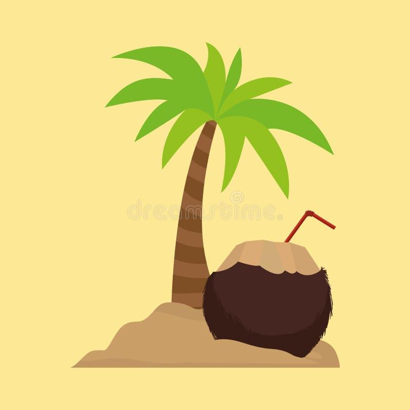 Sable de noix de coco de cocktail de palmier illustration libre de droits