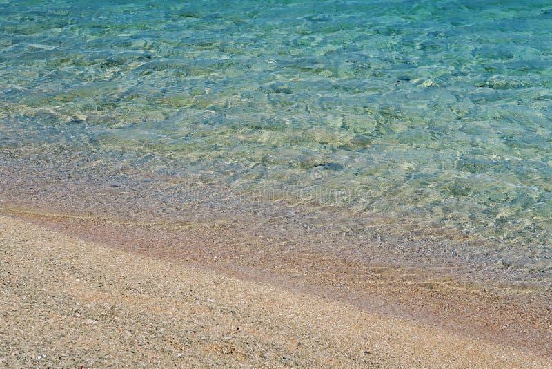 Sable de plage et plan rapproché bleu de l'eau d'océan images libres de droits