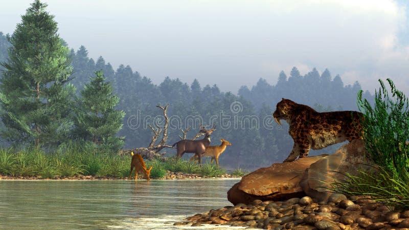 Sable-diente y ciervos libre illustration