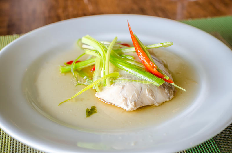 Sable fish steamed. In soy sauce royalty free stock photo