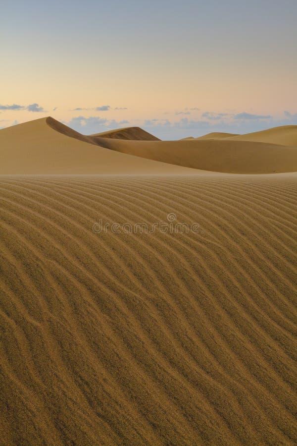 Sable ondulé et lisse des dunes de Maspalomas dans mamie Canaria image stock
