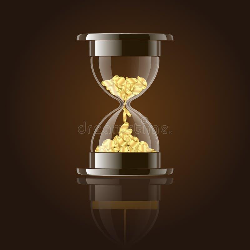 Sablier avec des pièces d'or au-dessus de fond foncé. illustration libre de droits