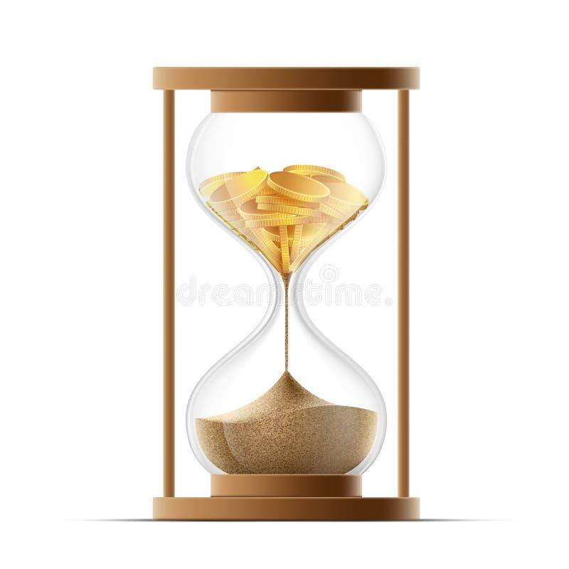 Sablier avec des pièces d'or de sable et Faillite et dévaluation illustration de vecteur