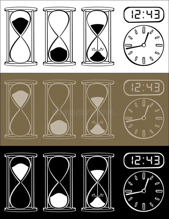 Sablier et horloge illustration de vecteur