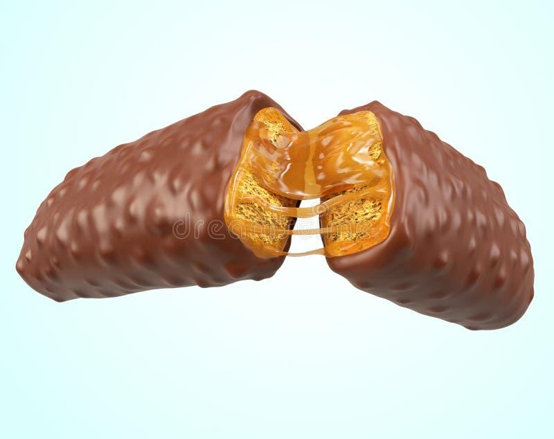 Sabor curruscante de la crema del caramelo de la oblea stock de ilustración