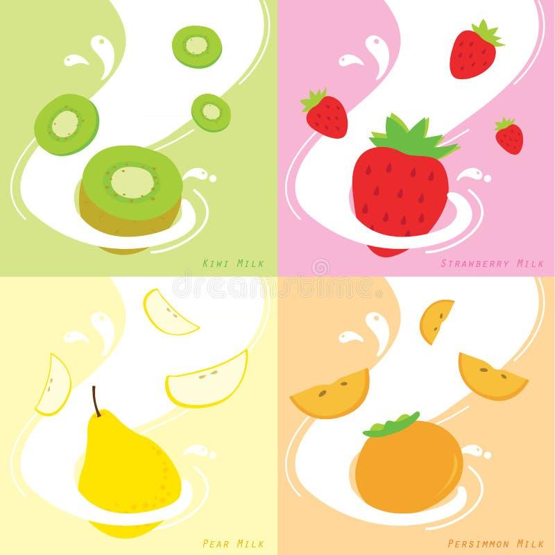 Sabor de leite Kiwi Strawberry Persimmon Pear Vetora ilustração stock