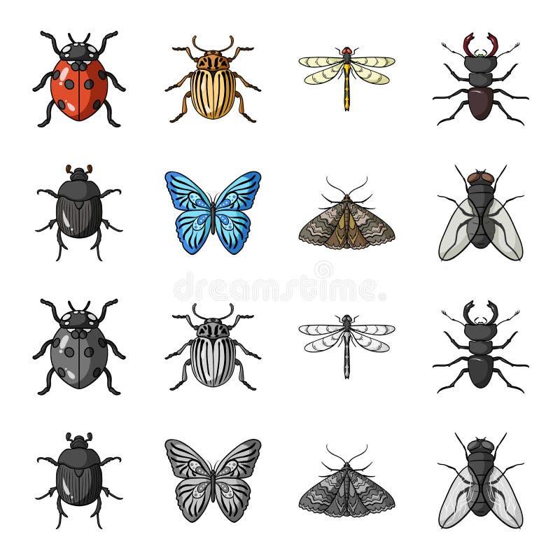 Sabotör parasit, natur, fjäril Kryp ställde in samlingssymboler i tecknade filmen, monokromt materiel för stilvektorsymbol vektor illustrationer