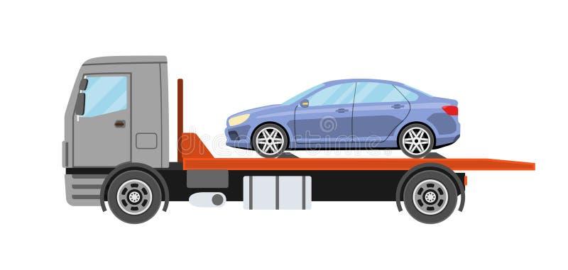 Sabotörlastbil med den evakuerade bilen Bogsera lastbilevakueringsservice royaltyfri illustrationer