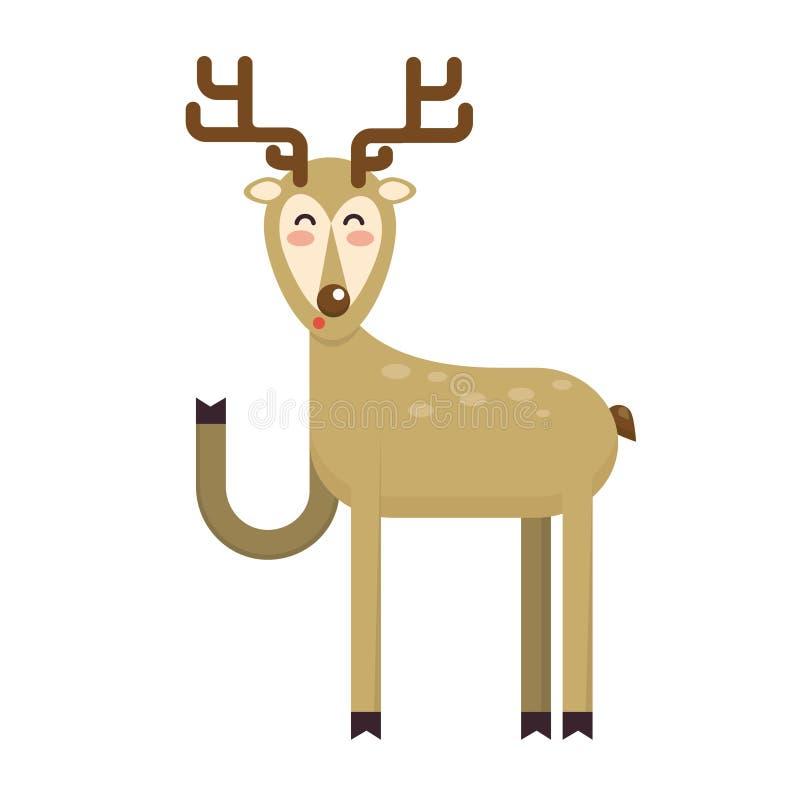 Sabot de ondulation de sourire heureux de personnage de dessin animé de cerfs communs de Noël Chee illustration stock