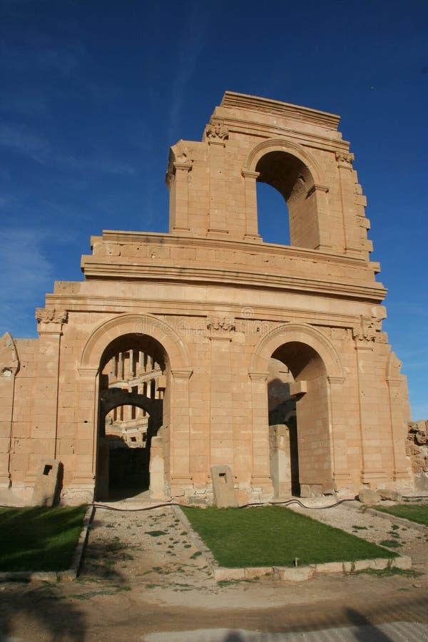 sabratha της Λιβύης αμφιθεάτρων στοκ εικόνες