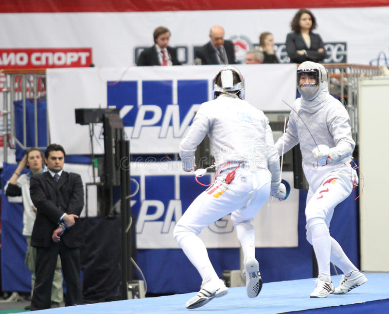 Sabre de Moscou. 2010 Moscow Saber World Fencing Tournament, is a one of the most prestigious international competitions in fencing in Moscow, Russia stock image