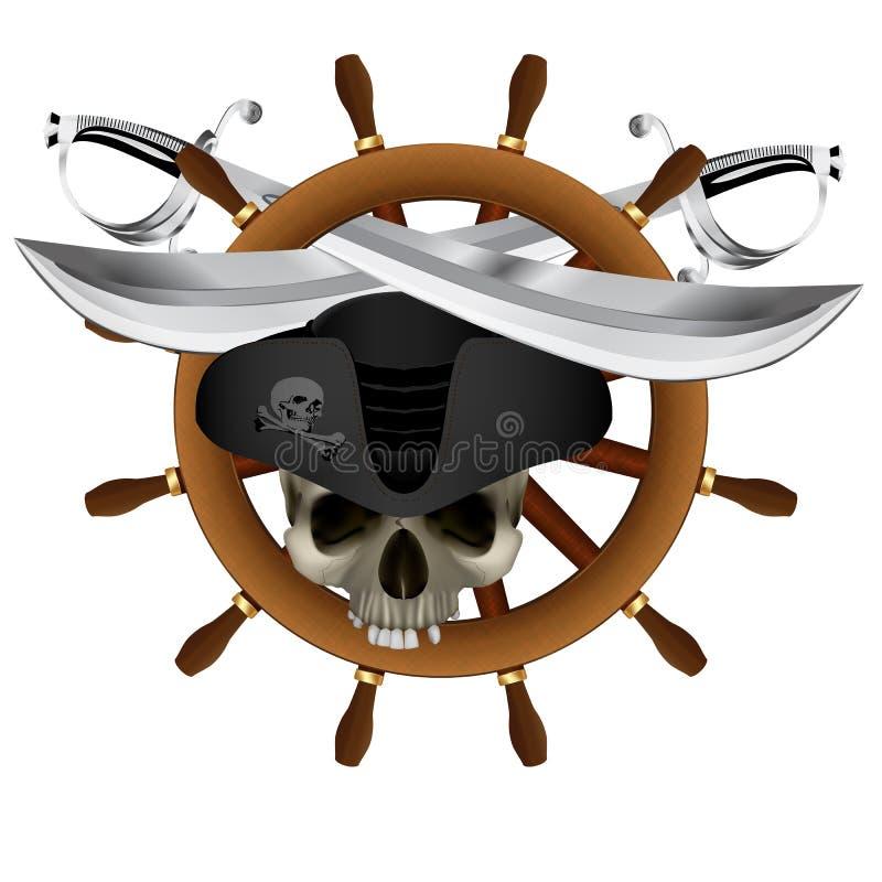 Sabre de roue du ` s de bateau de Jolly Roger Pirate illustration stock