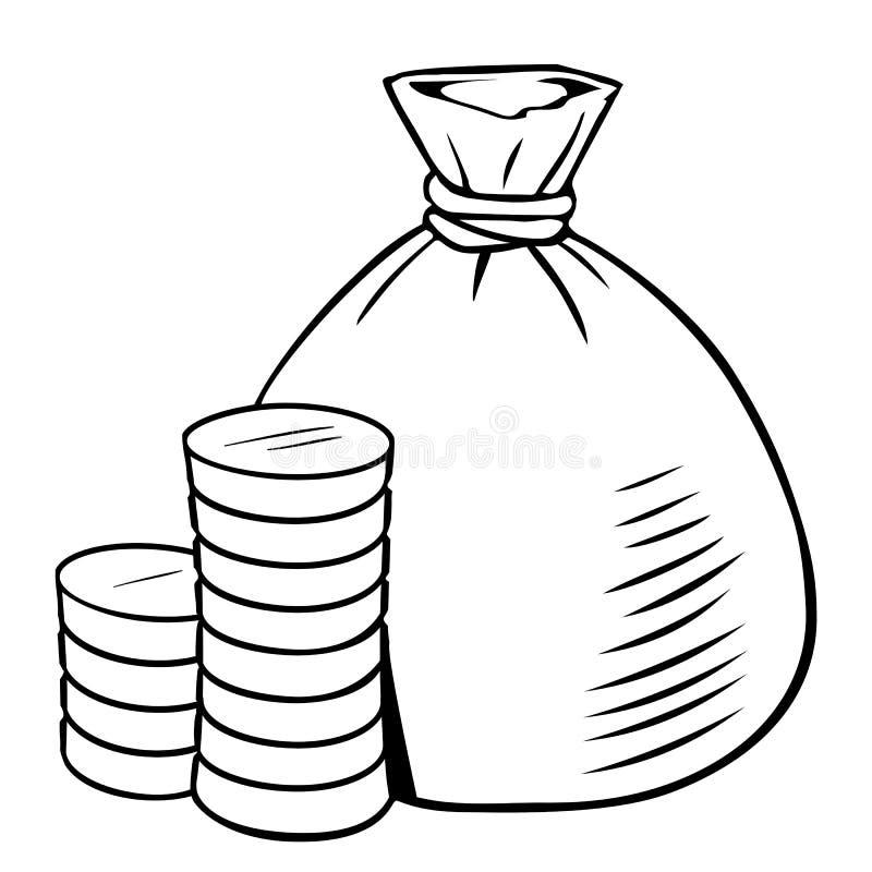 Sac à argent de bande dessinée avec la pile des pièces de monnaie illustration de vecteur