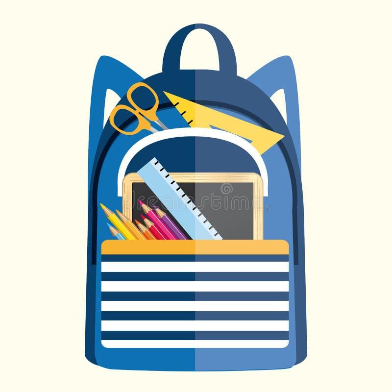 Sac à dos avec des fournitures scolaires De nouveau à l'illustration d'école illustration libre de droits