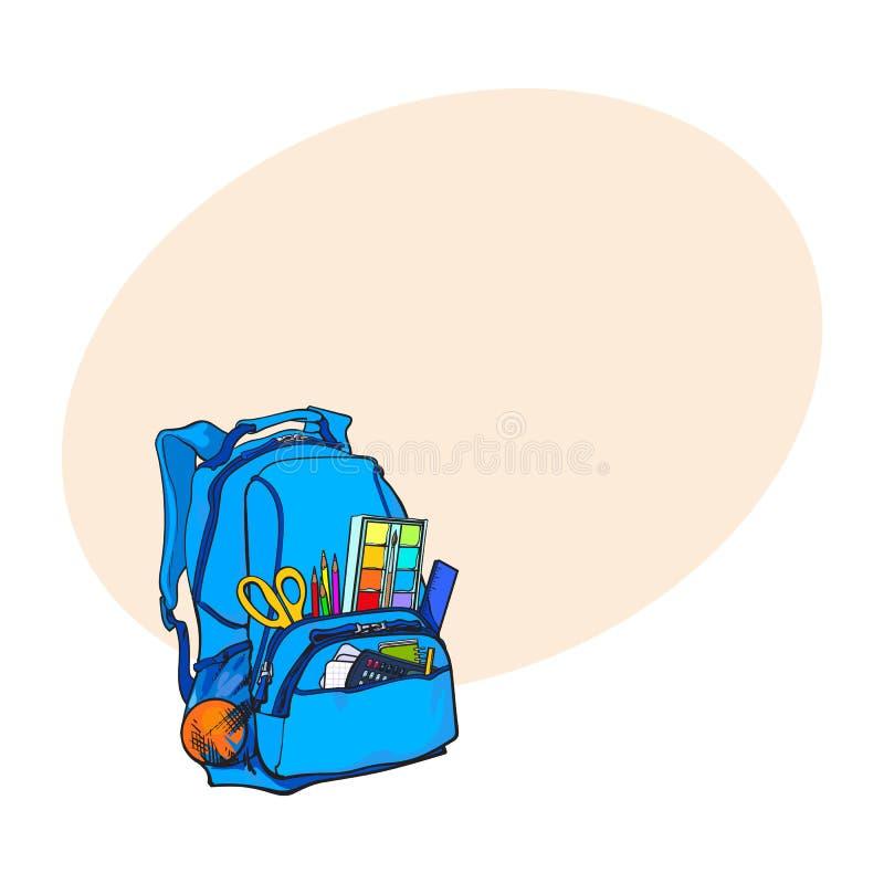 Sac à dos bleu emballé avec des articles d'école, approvisionnements, objets stationnaires illustration de vecteur