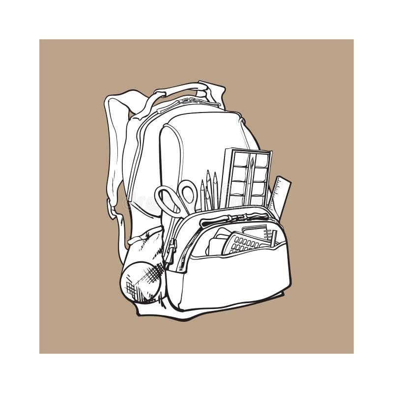 Sac à dos bleu emballé avec des articles d'école, approvisionnements, objets stationnaires illustration stock
