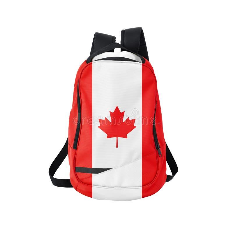 Sac à dos de drapeau de Canada d'isolement sur le blanc images libres de droits
