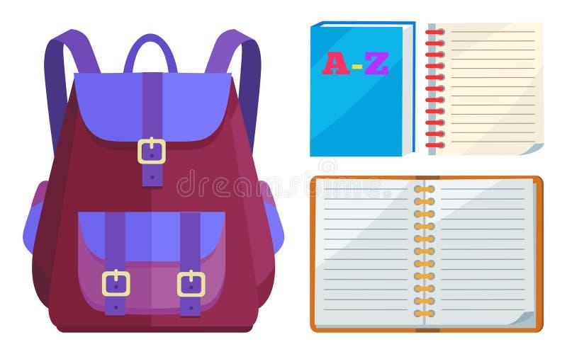 Sac à dos pour des enfants avec le vecteur commun ouvert d'ABC illustration de vecteur