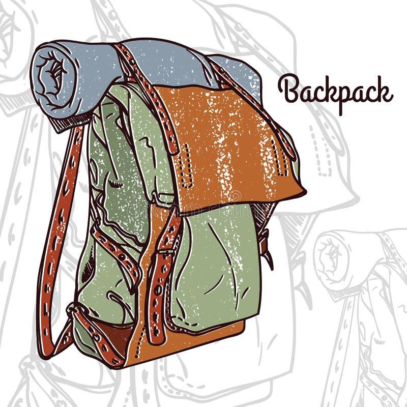 Sac à dos texturisé tiré par la main coloré de vintage, rétro insigne avec un sac à dos illustration libre de droits