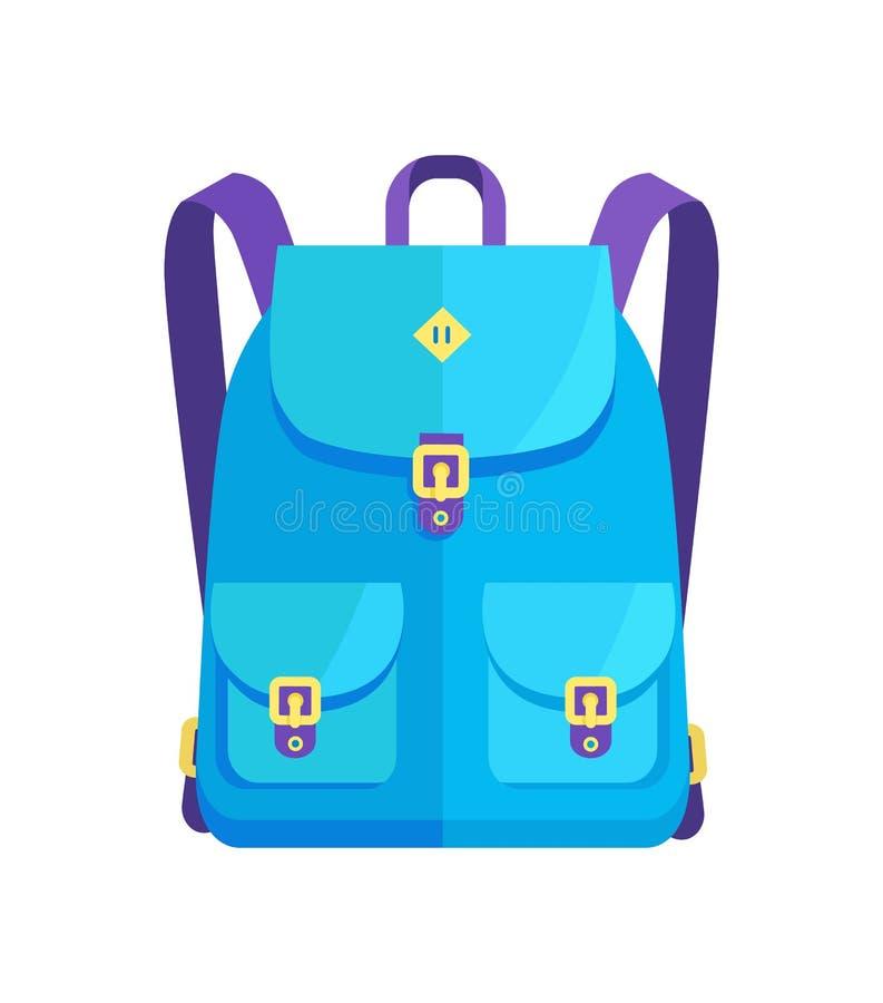 Sac à dos unisexe dans des couleurs bleues avec de grandes poches illustration stock
