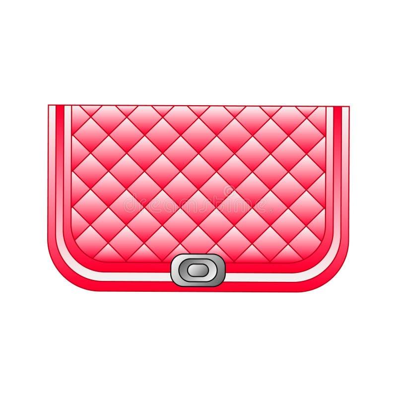 Sac à main à la mode d'embrayage Accessoire de mode dans couleur rouge/cramoisie à la mode pour le salon de beauté, magasin, copi illustration stock