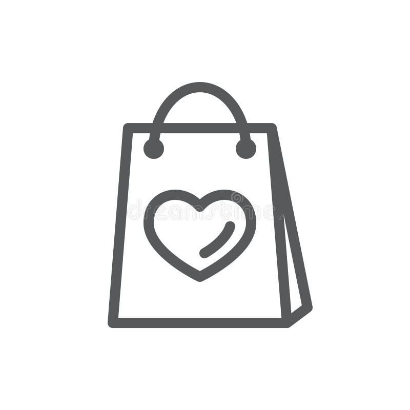 Sac à provisions avec l'image de la ligne de coeur icône avec la course editable illustration libre de droits